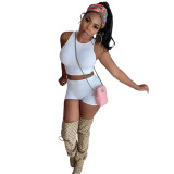 Pure Color Two Piece Pit Sports Vest and Shorts
