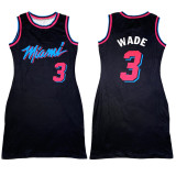 Sleeveless Letter Print Double-sided Pattern Ladies Basketball Shirt Dress