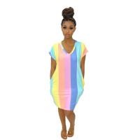 Summer V Neck Striped Midi Dress