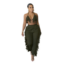 Sexy Ruffled Halter Bra and Trousers