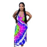 Casual Straps Tie-dye Printed Maxi Dress