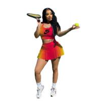 Summer Gradient Print Sports Two Piece Tennis Culottes Suit
