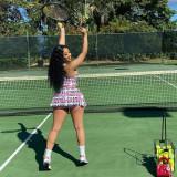 Summer Print Sports Two Piece Tennis Culottes Skirt Set