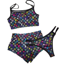 Three Piece Set Sexy Printed Shorts Set and Panty
