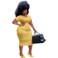 Striped Plus Size V Neck Mid Dress