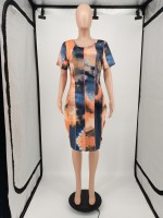 Fat Tie-dye Women's Plus Size Midi Dress