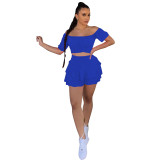 Off Shoulder Ruffle Culottes Two Piece Skirt Set