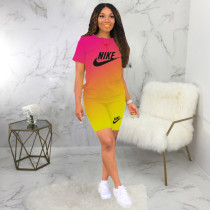 Letter Printed Two Piece Short Set Gradient Sports Outfits