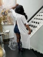 Casual Split Turn-down Neck Long T-shirt Dress