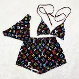 Three Piece Set Printed Bikini Set and Shorts
