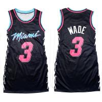Casual Sleeveless Letter Print Double-sided Pattern Bandage Basketball Shirt Dress