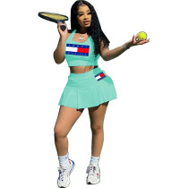 Casual Pattern Offset Print Tennis Vest and Culottes Skirt