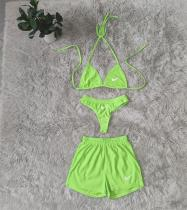 Sexy Embroidered Bikini Set and Shorts