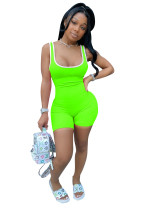 Solid Color Sleeveless Romper