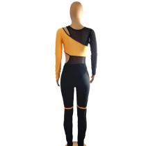 Casual Mesh Stretch Romper Pant Set Women Clothing