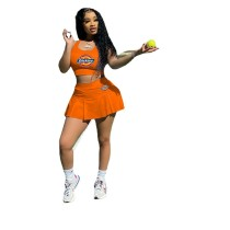 Casual Printed Baseball Uniform Vest and Pleated Culottes Skirt