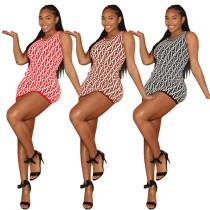 Sleeveless Print Letter Club Dress