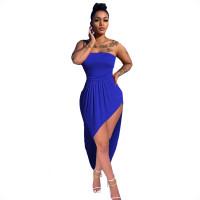 Sexy Strapless Irregular Midi Dress