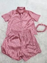 Casual Satin Print Summer Short Pajamas with Turban