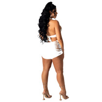Solid Color Two-piece Bandage Wrapped Top and Shorts