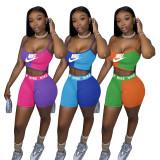 Casual Color Block Straps Print Two Piece Short Set Women