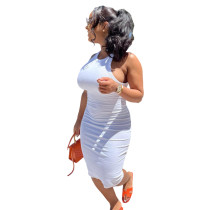 Solid Color Pit Sleeveless Midi Dress