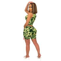 Casual Camouflage Bandage Vest and Shorts
