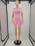 Casual Tight Printed Zipper Short Jumpsuit