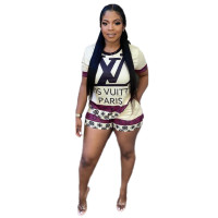 Casual Print Short Two Piece Set Womens Clothing 2021