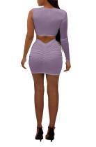 Mesh Stitching Single Shoulder Two Piece Short Skirt Set