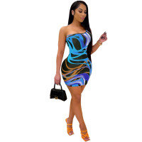 Casual Strapless Single Shoulder Mini Dress