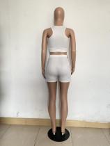 Casual Sleeveless Print Vest 2 Piece Short Set