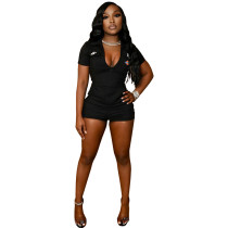Casual Offset Printed Zipper Short Sleeve Romper with 4 Pockets
