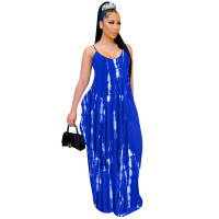 Casual Tie-dye Printed Straps Maxi Dress with Pockets