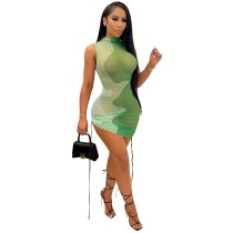 Casual Mesh Gradient Printed Lace-up Sexy Dress