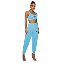 Solid Color Printed Sports Vest and Trousers Two Piece Pant Set