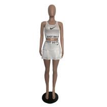 Casual Print Vest Sports Culottes Pants Femme Two Piece Set