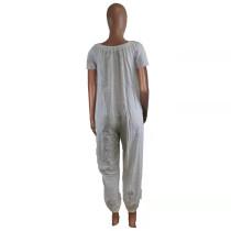Solid Color Off Shoulder Short Sleeve Jumpsuits