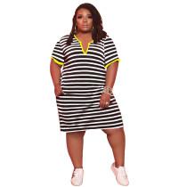 Summer Striped V-neck Midi Dress