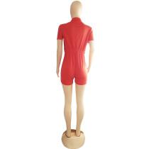 LV Casual Double Pocket Short Sleeve Print Short Jumpsuit