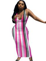 Sexy Striped Straps V Neck Long Dress