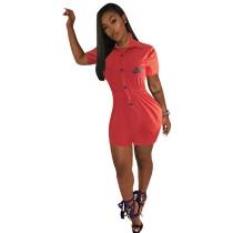 Nike Casual Double Pocket Short Sleeve Print Short Jumpsuit