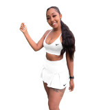 Solid Color Straps Embroidered Sports Two Piece Culottes