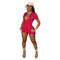 Casual High Quality Embroidered Zipper Short Jumpsuit with Four-pocket