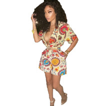 Casual Print Bandage Top and Short Two Piece Short Set