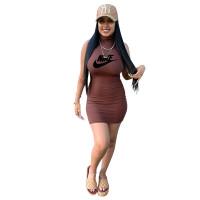 Solid Color Print High Neck Sleeveless Mini Dress