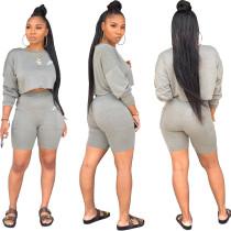 Casual Long Sleeve Print Sweatshirt Shorts Set with Pocket