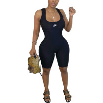 Casual Thread Sleeveless Printed Sporty Jumpsuit