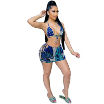 Sexy Halterneck Printed Two Piece Skirt Set