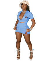 Casual Embroidered LOGO Tooling Crop Top Two Piece Set with 4 Pockets